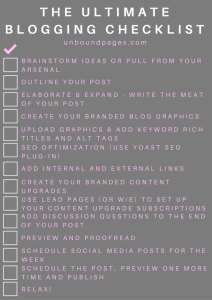 Do you want an inside peek into my blogging process? Plus get the ultimate blogging checklist so you never miss a step! - unboundpages.com