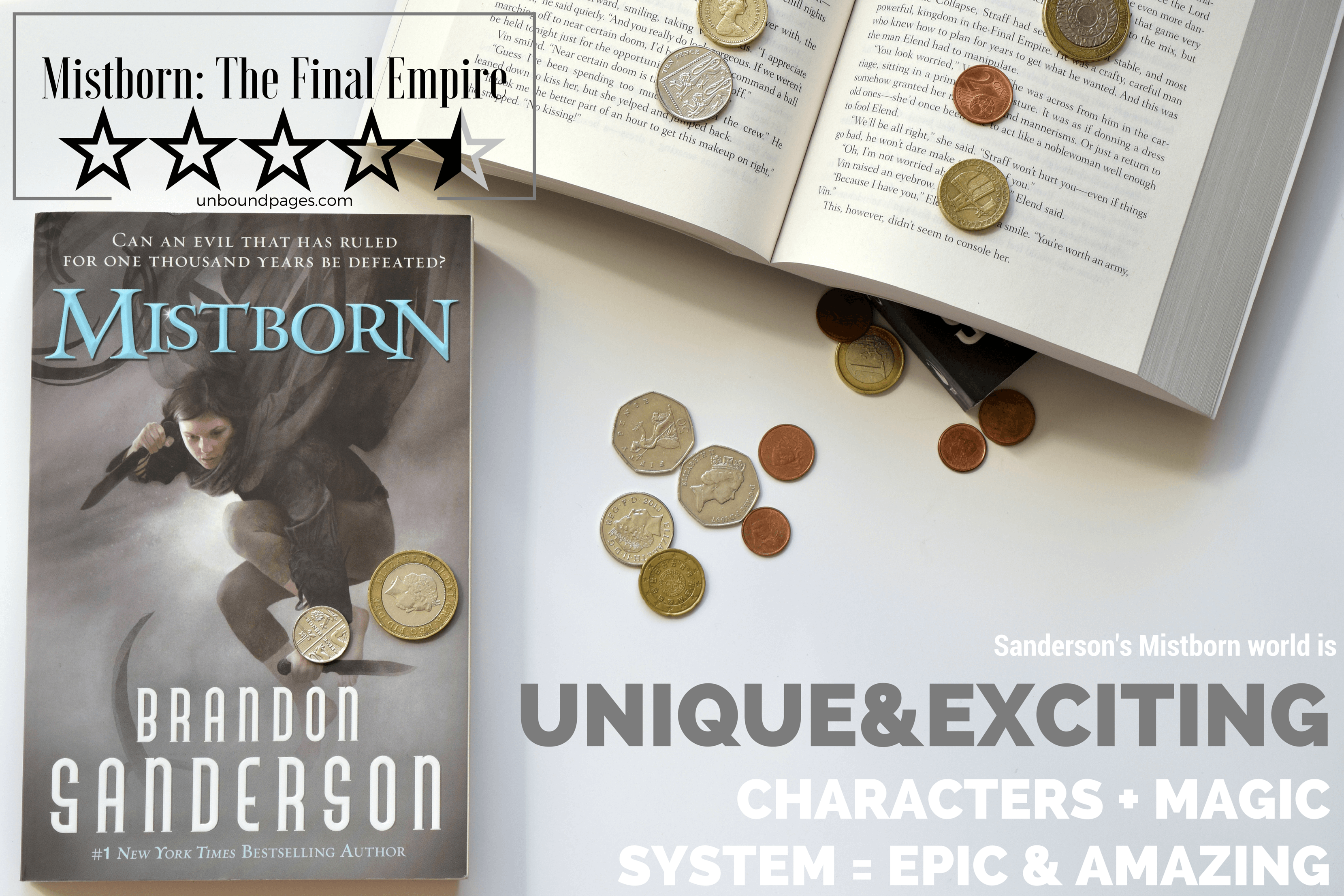 Mistborn: The Final Empire was everything I hoped & been promised it would be! The magic system, the characters, the world, everything was absolutely incredible. Brandon Sanderson is a master! - unboundpages.com